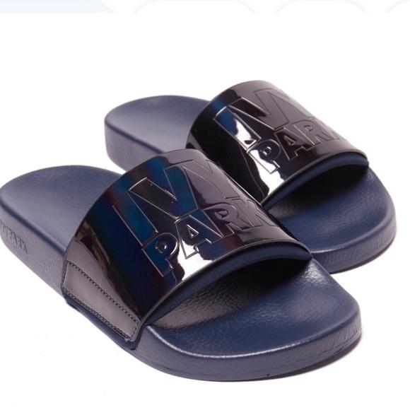 Logo Embossed Blue Slide Sandals | Poshmark